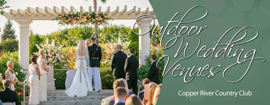 Outdoor wedding venues at Copper River include this scene from this photo of a beautiful couple getting married on the pergola facing the Alicante Bouchet vineyards.